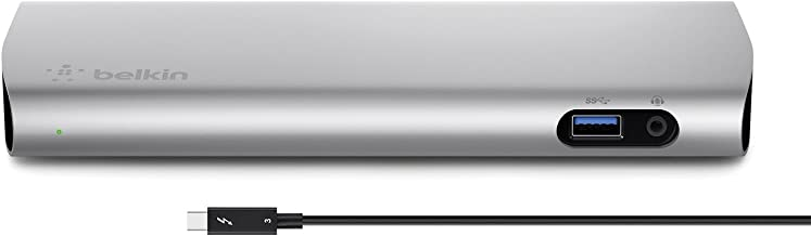 Belkin Thunderbolt 3 Dock w/ 2.6ft Thunderbolt 3 Cable (Thunderbolt Dock for MacBook Pro models  from 2016 or later, includes the 2018 version), Dual 4K @60Hz, 40Gbps Data Transfer Speeds)