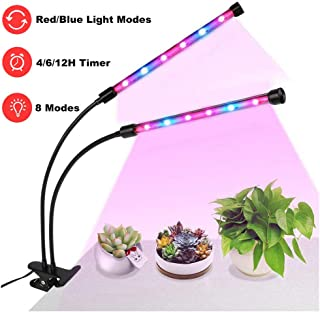 LED Glow Lights, LOPET 24W Dual Head Grow Lamp with 4/6/12H Timer, 8 Dimmable Modes, 360 Degree Adjustable Gooseneck, UV and IR Full Spectrum for Indoor Plants Germination Kit Hydroponics Greenhouse