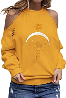 Womens Halter Neck Top Cut Out Shoulder Blouse Sweatshirts Print Long Sleeve Loose Pullover Shirt LIM&Shop