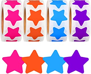 2000 Pieces Star Shape Stickers Reward Star Stickers Label Rolls Star Adhesive Label Stickers for Home School Supplies Off...