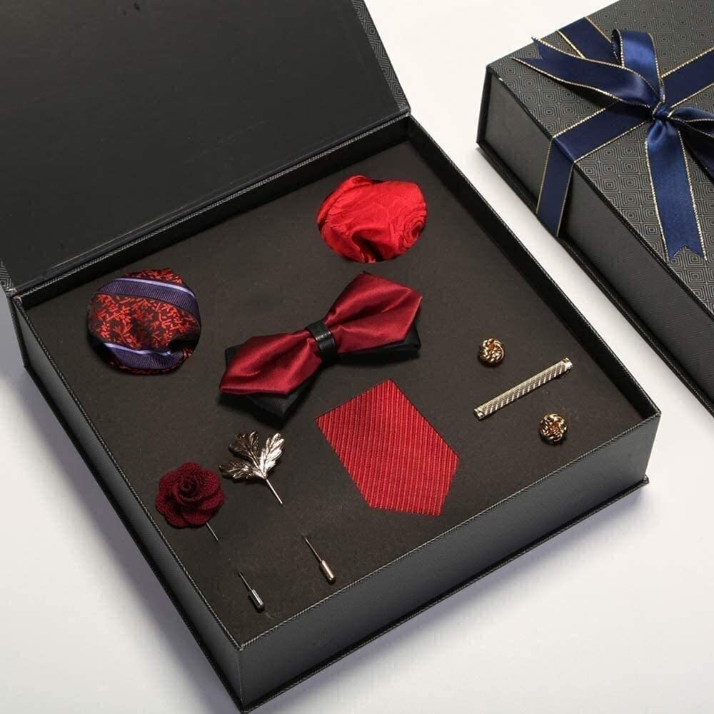 Bowtie Silk Tie Mens Pocket Square Cufflinks Set Wedding Necktie Men's 100% Silk Tie Set Ties Handkerchief Cufflinks Solid Pocket Square Necktie Wedding Hanky Wedding Business Party