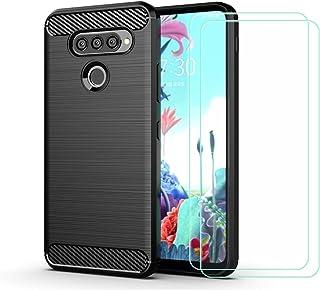 YZKJ Skal för LG Q70, silikon kolfiber TPU Cover skyddsskal [2 st] pansarglas skärmskydd för LG Q70 (6,4 tum) – svart