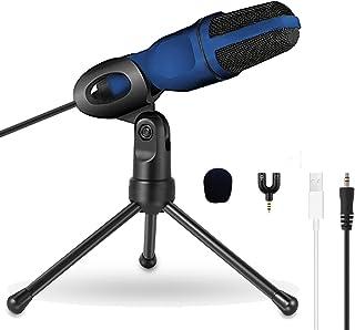 コンデンサーマイク USBマイク スタンドマイク 単一指向性 高音質 高感度 ゲーミング/ポップガード/PC/ps4 /YouTube/カラオケ/ポッドキャスト/生通信 3.5mmAUX (青い)