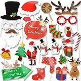 HOWAF 25pcs Navidad photocall DIY Photo Booth Accesorios Decoracion para Fiestas de Navidad cumpleaños, Incluyendo Bigotes Gafas Arcos Sombreros