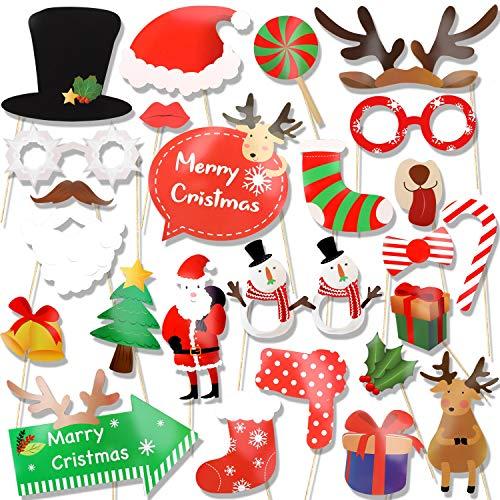 HOWAF 25pcs Navidad photocall DIY Photo Booth Accesorios Decoracion para Fiestas de...