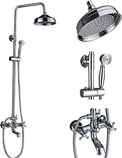 Votamuta Chrome Finish 8-Inch Rainfall Shower Faucet Set Wall Mount Bathtub Shower Mixer Tap with Hand Sprayer (Chrome)
