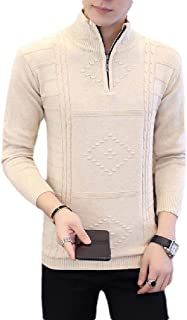 neveraway Men's Zip-Up Knitted Pure Colour Slim Fit Long Sleeve Pullovers Sweater