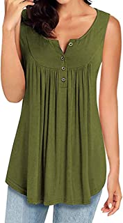 Sunmoot Clearance Sale Sleeveless Tunic for Womens Button Blouse Summer Casual T Shirt V Neck Swing Flowy Tank Tops