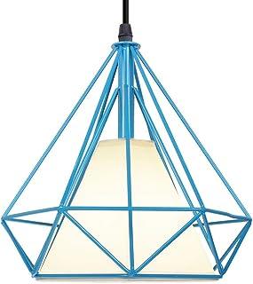 Suspension Luminaire Industrielle Vintage Rétro Plafonnier Cage Forme Diamant, Lustre Abat-Jour en Métal 25cm Corde Ajusta...