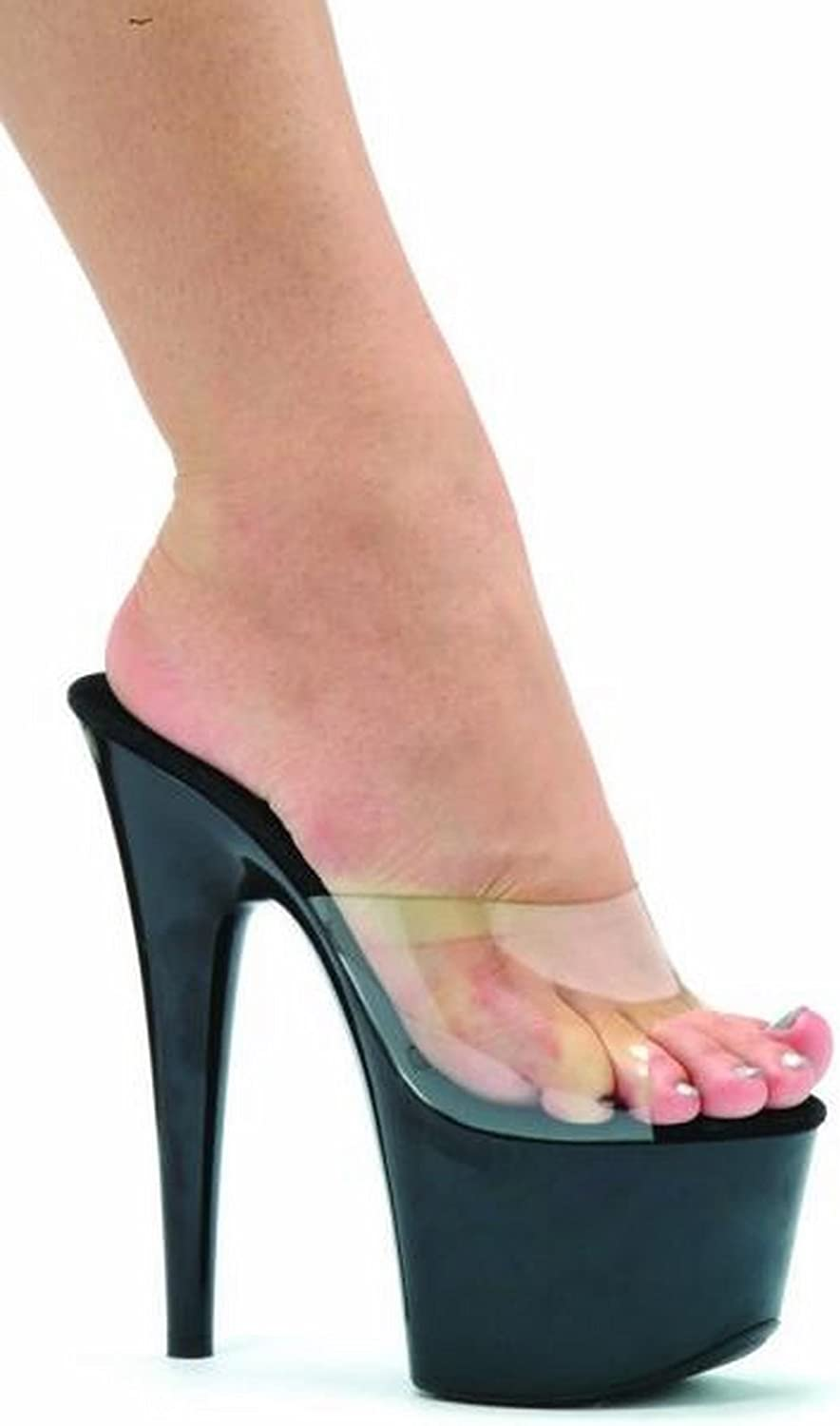Ellie shoes 7 Inch Pointed Stiletto Mule Women'S Size shoes (Clear Black;8)