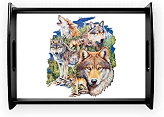 Large Serving Tray Wolf Collage