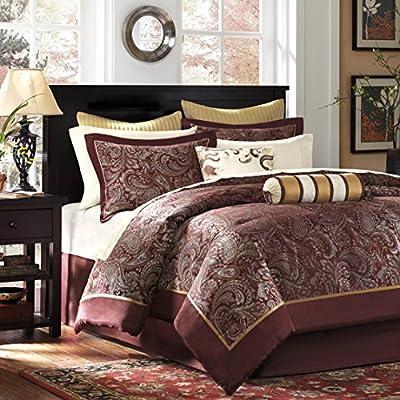Madison Park Aubrey King Size Bed Comforter Set Bed In A Bag - Burgundy , Paisley Jacquard – 12 Pieces Bedding Sets – Ultra Soft Microfiber Bedroom Comforters