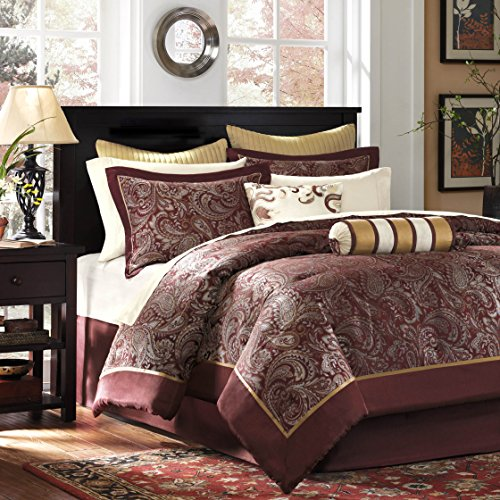 Madison Park Aubrey King Size Bed Comforter Set Bed In A Bag - Burgundy , Paisley Jacquard – 12 Pieces Bedding Sets – Ultra Soft Microfiber Bedroom Comforters