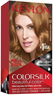 Best Revlon Colorsilk Beautiful Color Permanent Hair Color with 3D Gel Technology & Keratin, 100% Gray Coverage Hair Dye, 57 Lightest Golden Brown Reviews