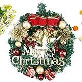 Ghirlanda natalizia con campanelle artificiali, ghirlanda di fiori, ghirlanda di Natale, decorazione da appendere alla porta anteriore, ghirlande per porte, finestre, decorazioni natalizie