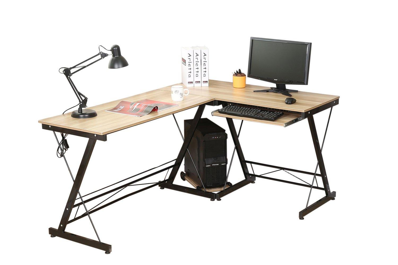 hlc Escritorio de Esquina, Mesa de Ordenador en Forma L, Escritorio de Oficiana, Mesa de Estudio, con Bandejas de CPU y Teclado, MDF+Acero, 161 * 120 * 73 cm Amarillo: Amazon.es: Hogar