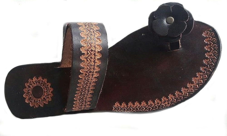 Alpacaandmore Flache Flache Braune Damen Leder Sandalen Zehentrenner mit Einem Blaumen Motiv  extrem niedrige Preise