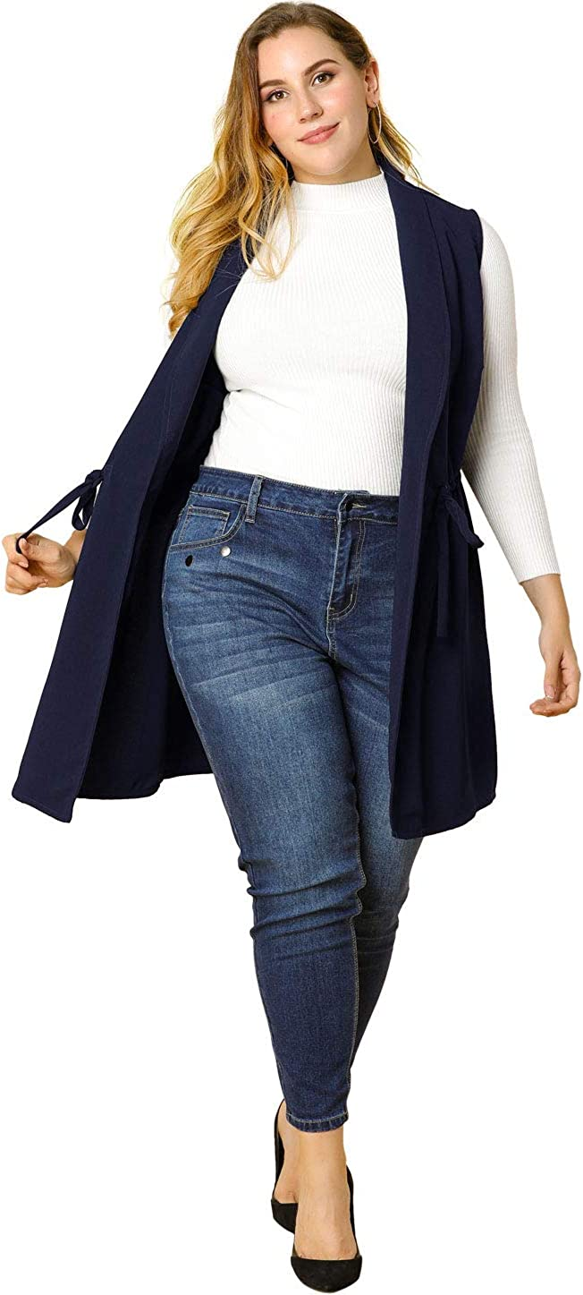 Agnes Orinda Women's Plus Size Vests Trench Cardigan Belted Wrap Sleeveless Open Draped Vest Mothers Day
