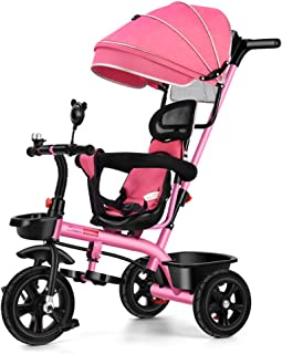 4in1 Pink Baby Toddler Walker Kids Trike Tricycle Bike Children Bicycle Ride On Toy Safety Fence Adjustable Seat Handlebar