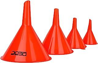 DEDC Oil Funnels Gas Funnels Plastic Funnel Set for Car Automotive Kitchen Mini Small Large Red (4pcs Gas Plastic Funnel)