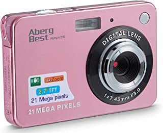 Compactas Cámaras Digitales AbergBest 2.7 LCD Recargable HD Cámara Digital para Estudiantes niños Adultos Interior y Exterior (Rosa)