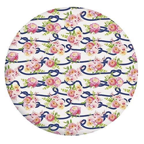 Tovaglia in poliestere con bordi elastici, corda blu marina e bouquet di rose primaverili e orchidee, adatta per tavoli rotondi da 61 cm, per eventi interni ed esterni, blu navy, rosa, verde