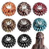 FLOFIA 8pcs Horquilla rizadora retráctiles de moda retro, Clip de pelo en nudo pájaro, Horquillas de cola elástica, Goma plástica de pelo, Multicolor Forma Expandible