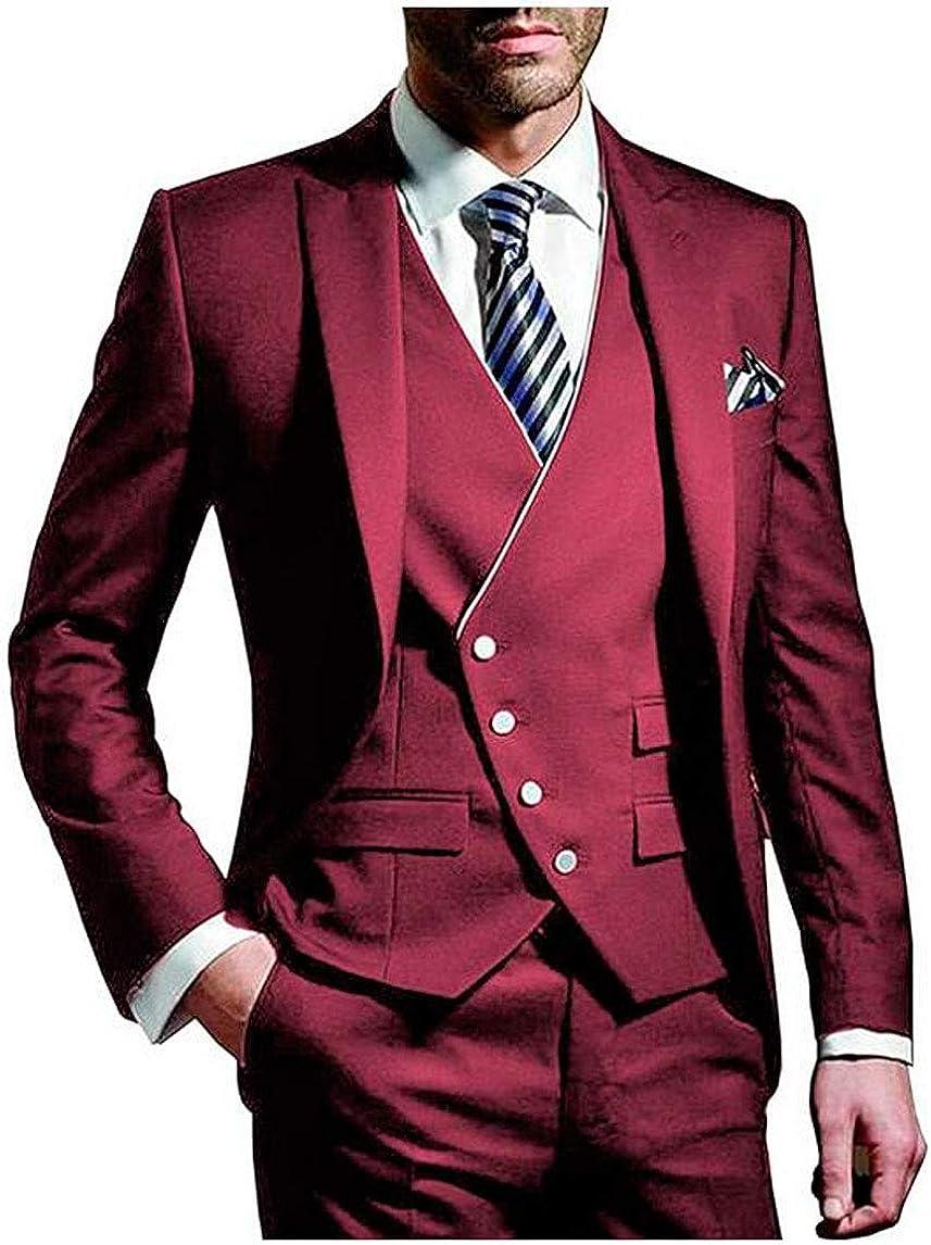 Men's 3 PC Slim Fit Business Suit Jacket Vest Pants Wedding Suits for Men Prom Party Suit Casual Wear