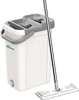 oshang Flat Floor Mop and Bucket Set for Home Floor Cleaning, Hands Free Floor Flat Mop,..