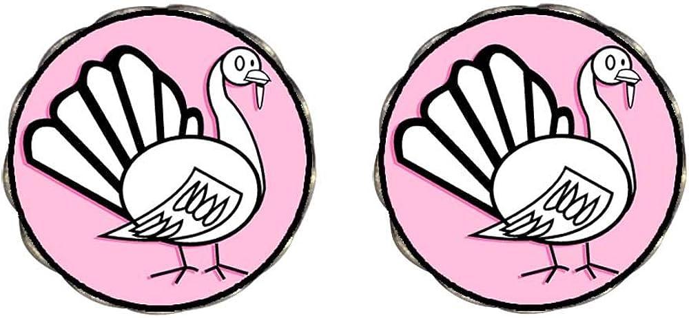 Bronze Retro Style white and black Thanksgiving turkey Clip On Earrings Flower Earrings #12