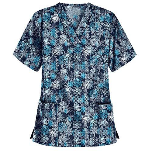 Xiaox Women's Tops Holiday Blouse Short Sleeve V Neck Working Uniform Christmas Thanksgiving Printing Women_Scrub_Top Blouse