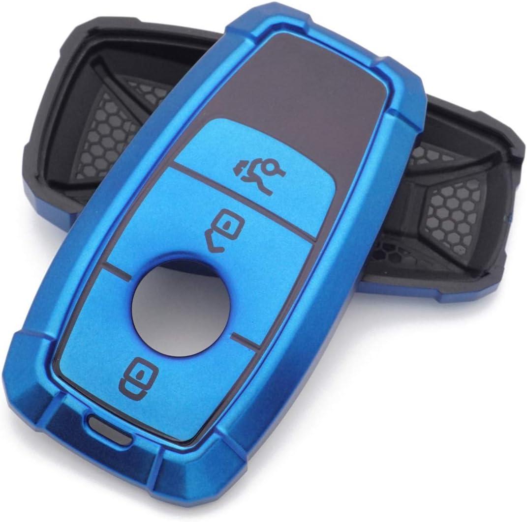 Royalfox TM for Benz New Key Blue Soft Silicone Smart keyless Remote Key Fob case Cover for Mercedes-Benz A C E S Class Series,GLK CLA GLA GLC GLE CLS SLK AMG Series Keychain