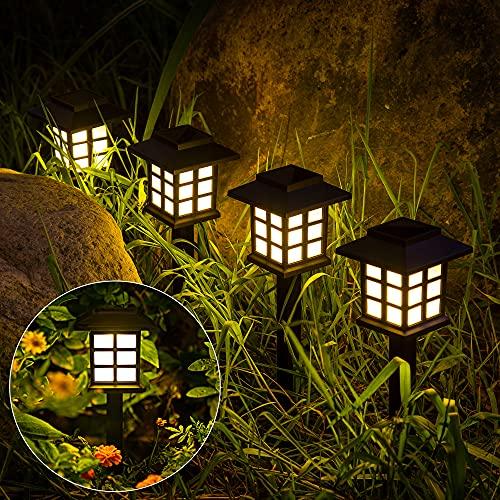 GIGALUMI 8 Pack Solar Pathway Lights Outdoor, Waterproof Outdoor Solar Lights for Garden, Landscape, Path, Yard, Patio, Driveway, Walkway