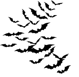 Sumind DIY 48 Pieces 3D Bats Halloween Accessories Kit, Halloween Party Supplies for Home Window Wall Decoration (Black)