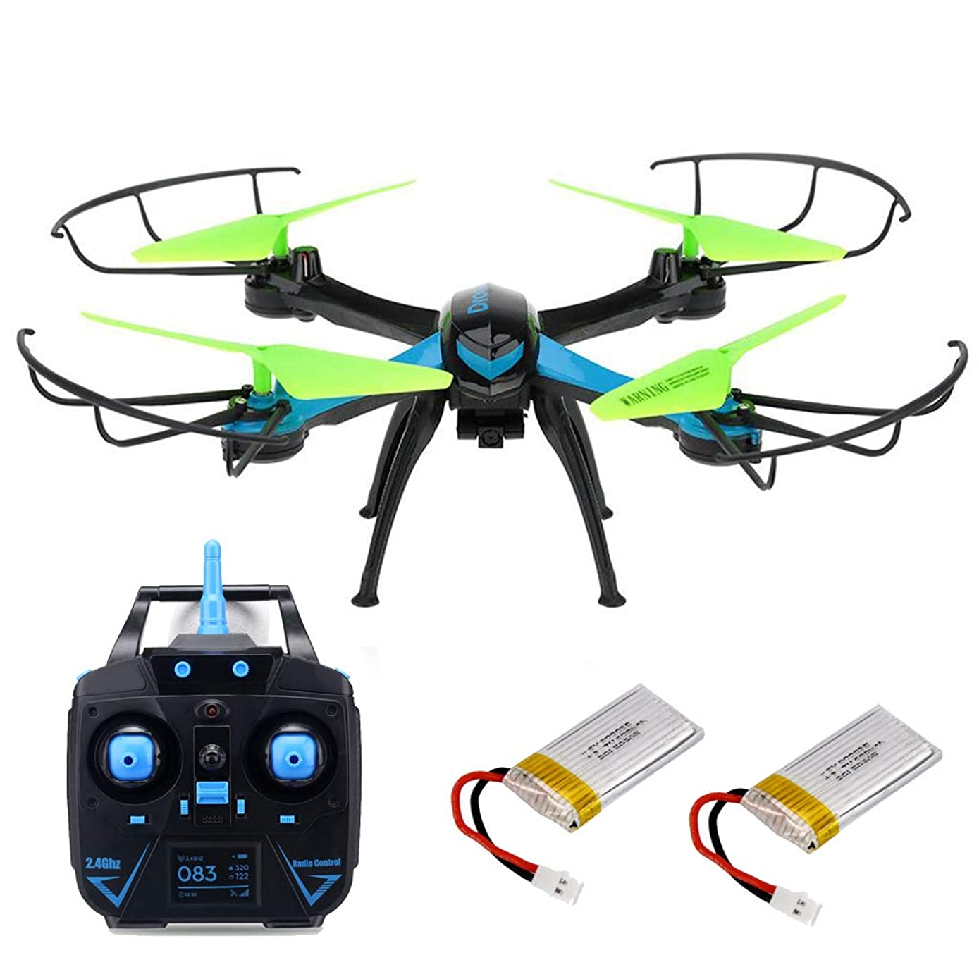 JJRC H98 RC Quadcopter Drone with Camera 2.4GHz 4CH 6-Axis Gyro Radio Control Helicopter Quad, Headless Mode, 3D Rollover, 1 Set of Free Floureon Props, Blue & Green