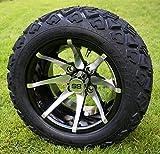 12' KRAKEN Machined/Black Golf Cart Wheels and 20x10-12 DOT All Terrain Golf Cart Tires - Set of 4 - NO LIFT REQUIRED (read description)