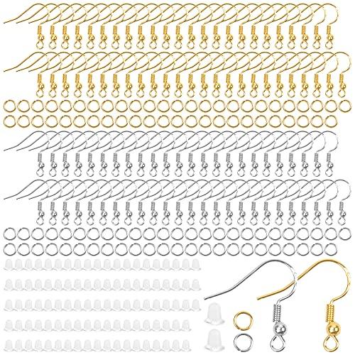300 Piezas Ganchos para Pendientes, Kit de Fabricación de Pendiente Accesorios de Pendiente y Bisutería Metal, Kits Ganchos para Pendientes para Hacer Bisutería de Reparación (Dos Colores)