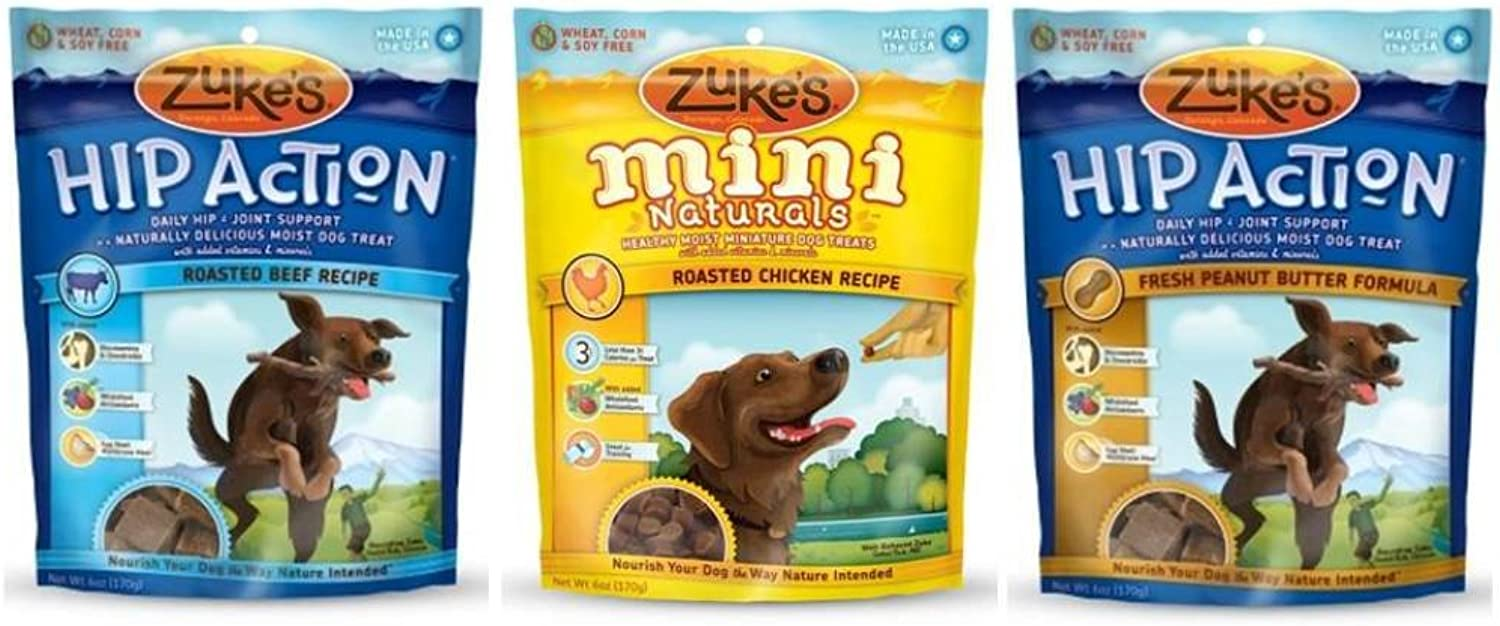 Zuke's Moist Treats for Dogs 3 Flavor Variety Bundle: (1) Hip Action Roedd Beef, (1) Hip Action Fresh Peanut Butter Formula, e (1) Mini Naturals Rosted  cken, 6. Oz Ea.(3 Bag Totale)