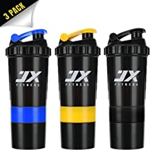 JX FITNESS Sports Protein Mixer Shaker Bottle- Leak Proof Sports Bottle- 16oz Shaker Cup with Measurement Mixing Grid- 5oz Split Twist Off Storage for Powder or Capsule- BPA Free Blue Yellow Black Estimated Price : £ 19,60