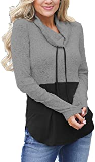 Womens Fall Cowl Neck Tops Drawstring Pullover Hoodies Color Block Long Sleeve Casual Sweatshirts Blouses