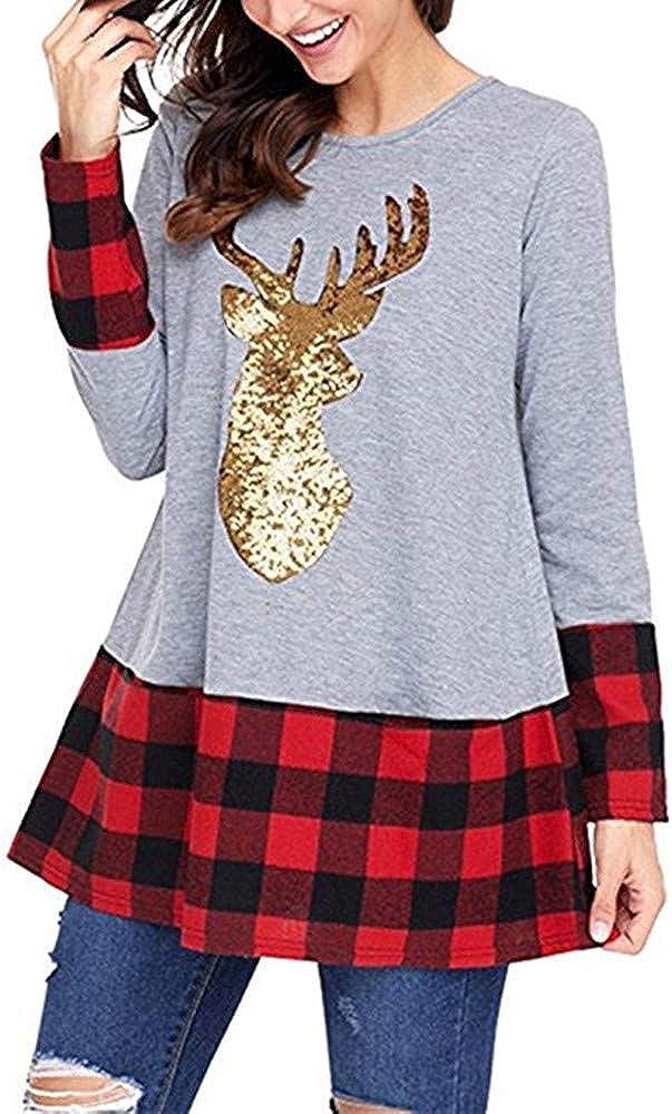 iDWZA Fashion Womens Christmas Tops Plaid Splice Hem Reindeer Long Sleeve Cute Tunic Blouse