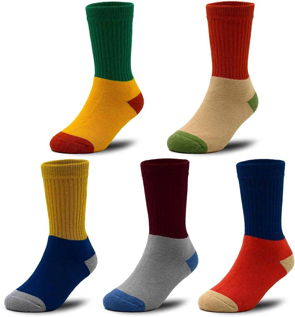 Boys' Thick Cotton Socks Kids Winter Warm Thermal Socks 5-Pack