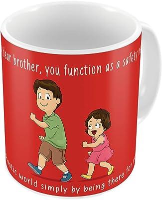 Indigifts Raksha Bandhan Gifts for Brother Bro as Saftey Net Quote Printed Coffee Mug 330 ml, Rudraksha Rakhi, Roli & Greeting Card - Rakhi Gifts for Brother, Rakshabandhan Gifts, Rakhi for Brother with Gifts