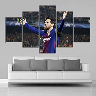 ARTZHUA Wall Art 5 Pieces Canvas Paintings American Football 5 Pieces Creative Sports Star Wall Posters Football Canvas Paintings Art Prints Pictures Boys Bedroom Decoration