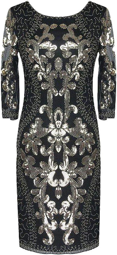 Gergeos Womens Vintage 1920s Long Sleeve O-Neck Sequin Banquet Evening Midi Dresses
