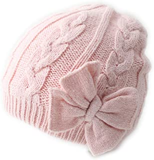 Soft Warm Knitted Baby Hat Cute Cozy Chunky Bow Cotton Lined Infant to