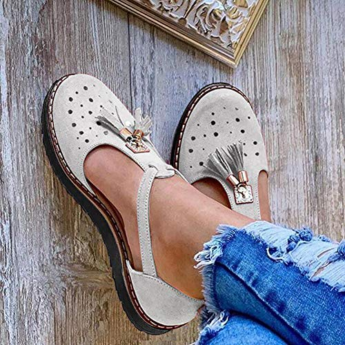 XXZ Sandalen Damen Schuhe Espadrille Flache Sommer Geschlossener Zeh Sandalen Runde Zehen Sandaletten Elegant Quaste Plateau Sandalen Schuhe,Grau,42
