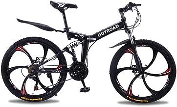 Outroad Mountain Bike 6 Spoke 21 Speed 26 in Folding Bike Double Disc Brake Suspension Fork Rear...