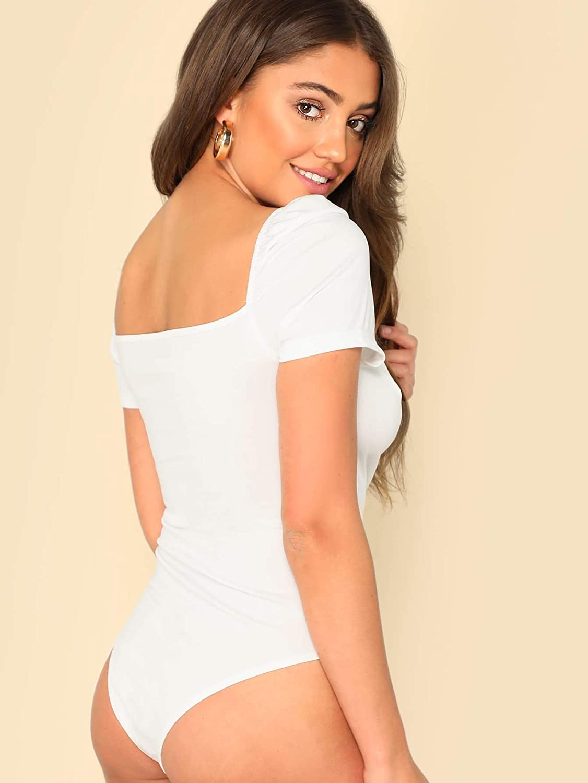 Floerns Women's Sweetheart Neck Puff Sleeve Wrap Elegant Bodysuit