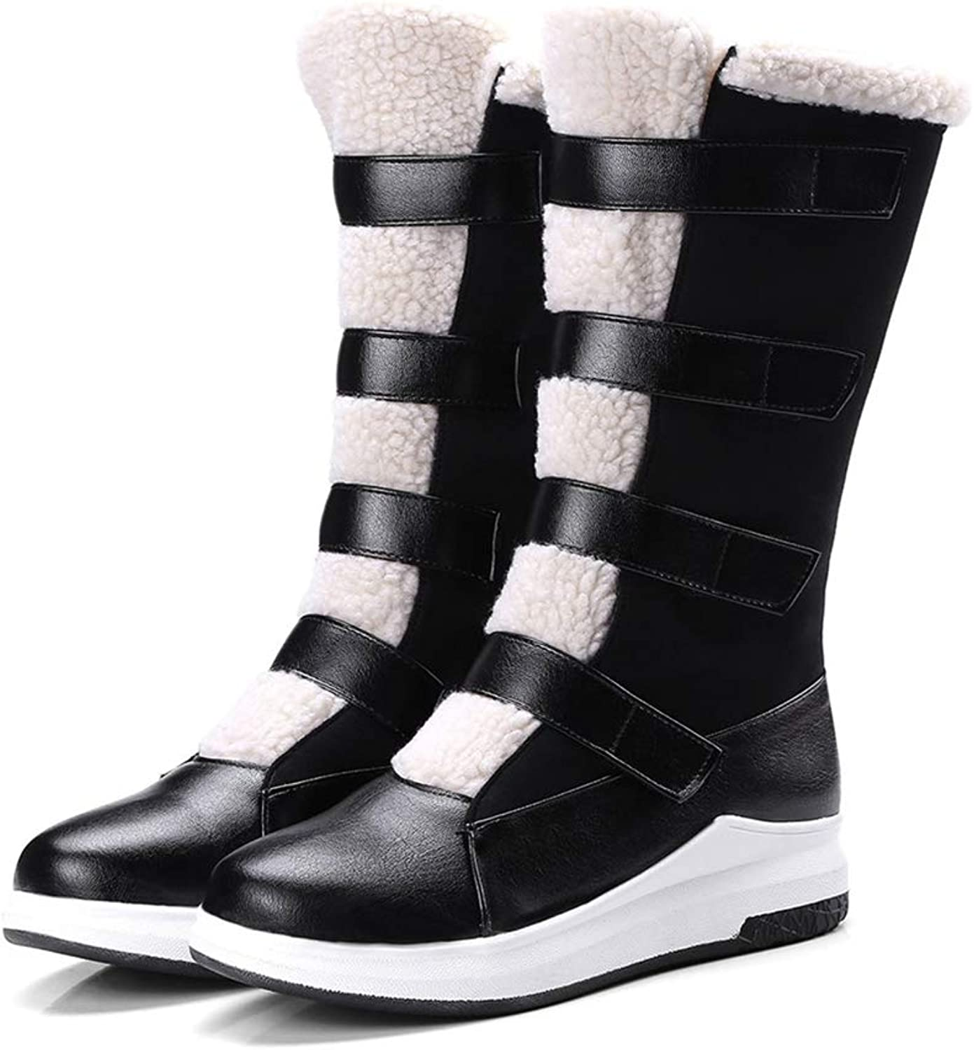 T-JULY Winter Women Round Toe Keep Warm Comfortable Boots Ladies Flat Black Brown Fashion Mid Calf Boots